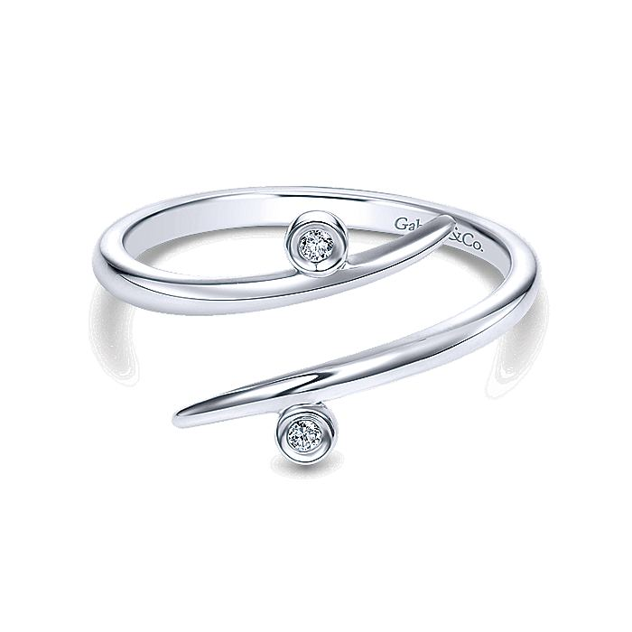 14K White Gold Bezel Set Diamond Midi Open Wrap Ring