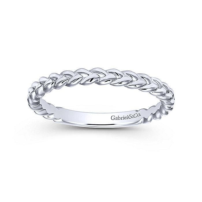 14K White Gold Braided Metal Band