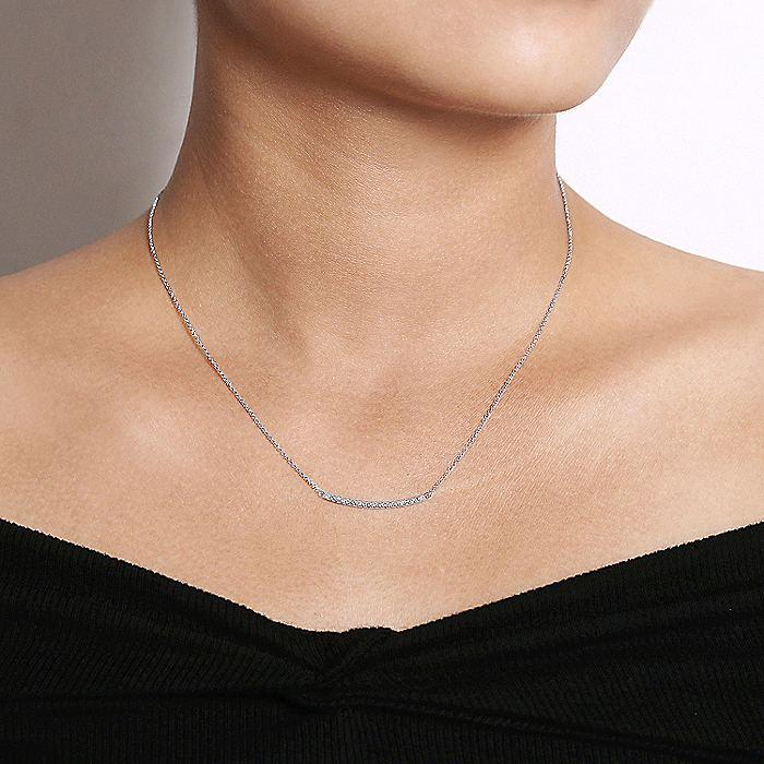 14K White Gold Diamond Pavé Curved Bar Necklace