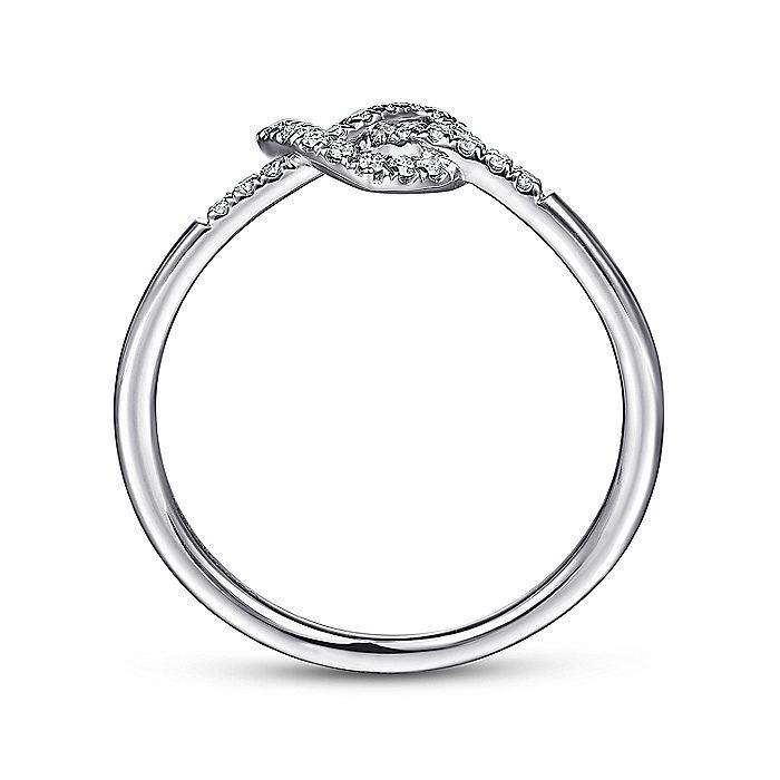 14K White Gold Diamond Pretzel Love Knot Heart Ring