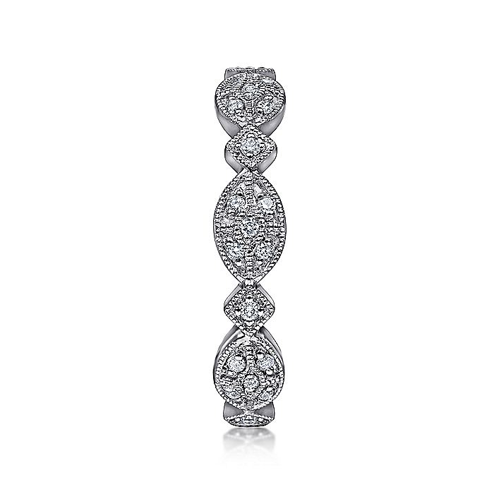 14K White Gold Marquise Station Cluster Diamond Stackable Ring