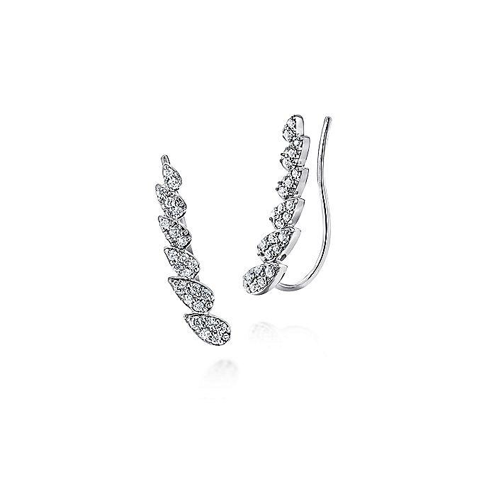 14K White Gold Pear Shaped Diamond Column Ear Climber Earrings