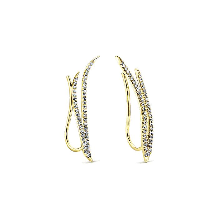 14K Yellow Gold Dual Strand Diamond Ear Climber Earrings