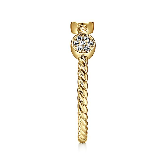 14K Yellow Gold Twisted Rope Cluster Diamond Station Stackable Ring