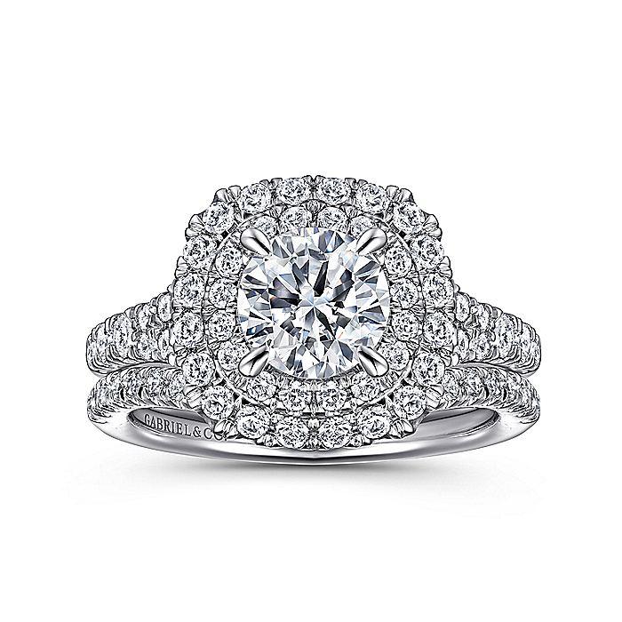 14k White Gold Cushion Double Halo Round Diamond Engagement Ring
