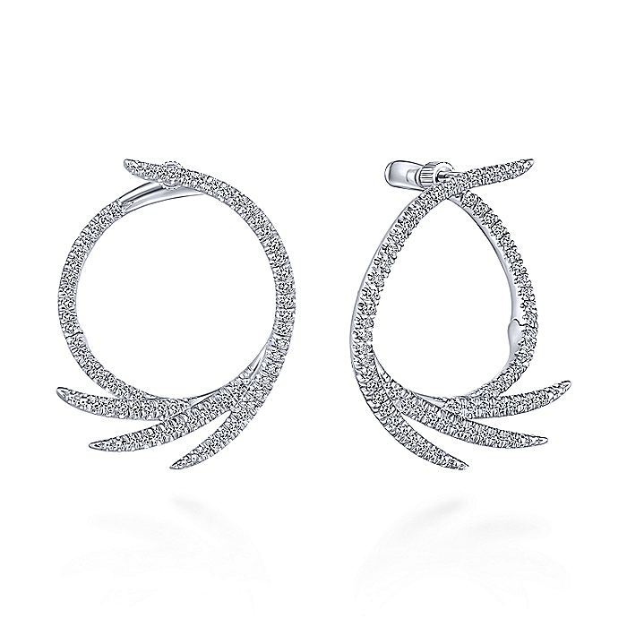 Pave Diamond Fan Hoop Earrings (.75ct diamond)
