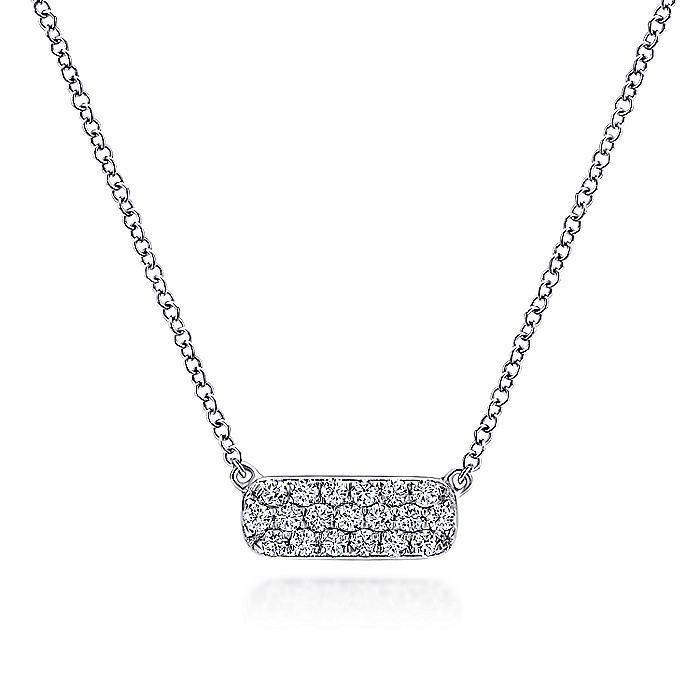 14k White Gold Rectangular Diamond Bar Fashion Necklace