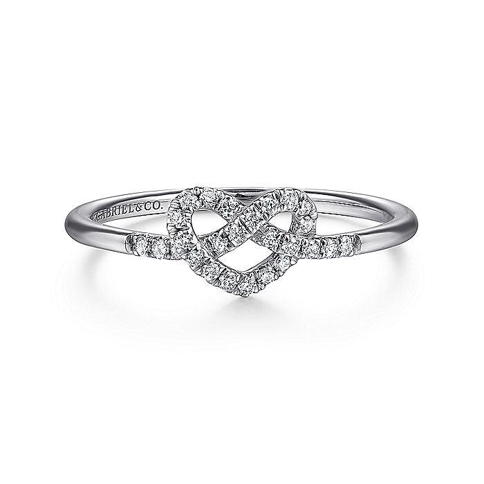 14k White Gold Twisted Diamond Heart Ladies Ring