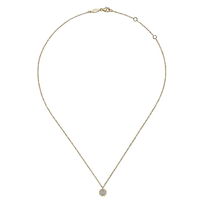 14k Yellow Gold Octagonal Pave Diamond Pendant Necklace