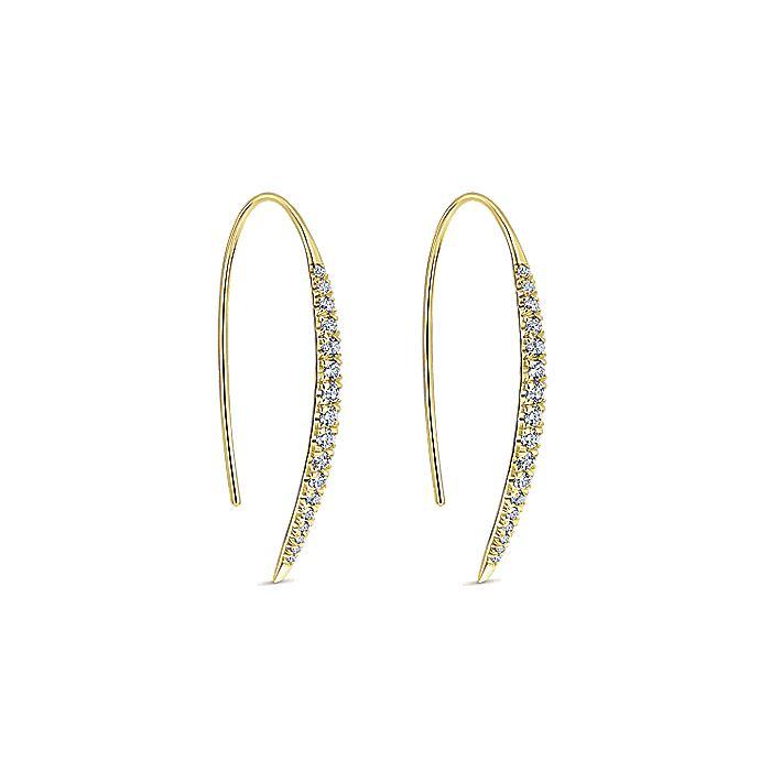 14k Yellow Gold Tapered Diamond Drop Earrings
