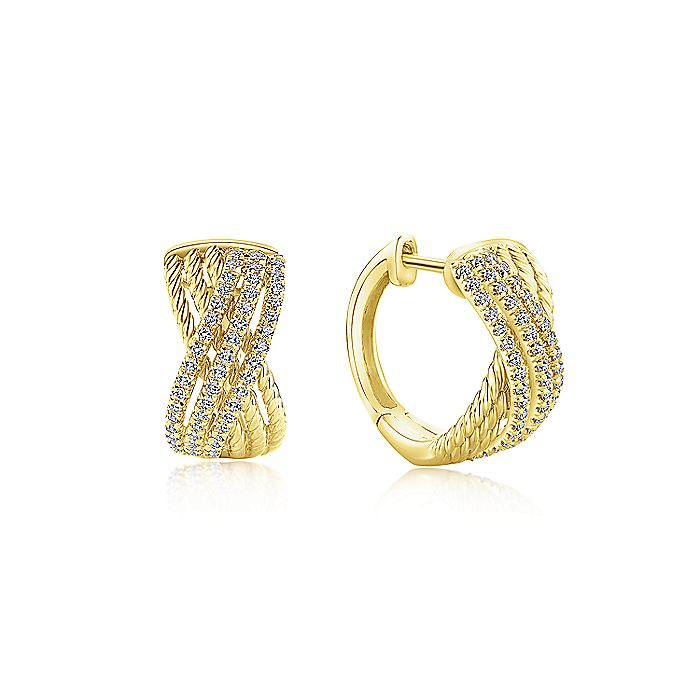 Twisted Diamond Huggie Earrings