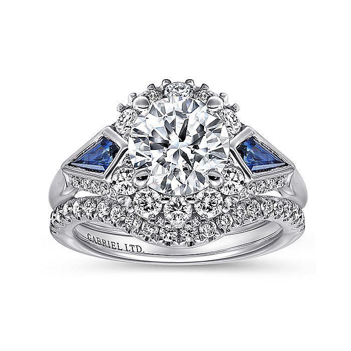 18K White Gold Round Sapphire and Diamond Engagement Ring