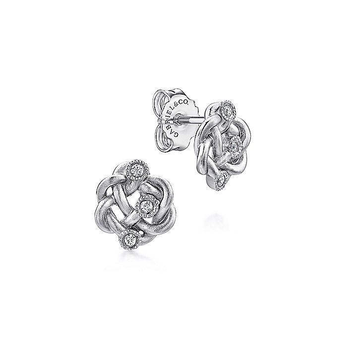 Twisted Knots Diamond Stud Earrings
