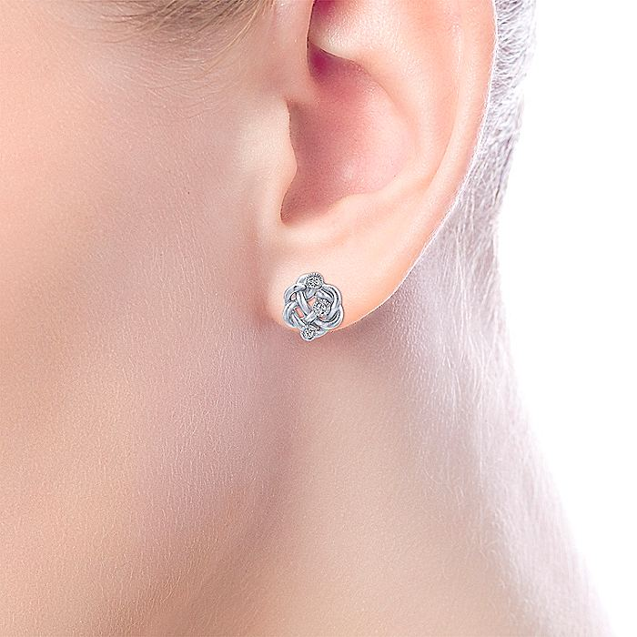 925 Sterling Silver Twisted Knot Diamond Stud Earrings