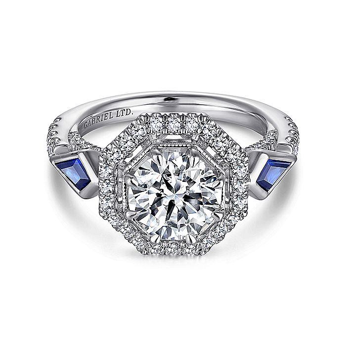 Art Deco 18K White Gold Octagonal Three Stone Halo Round Sapphire and Diamond Engagement Ring
