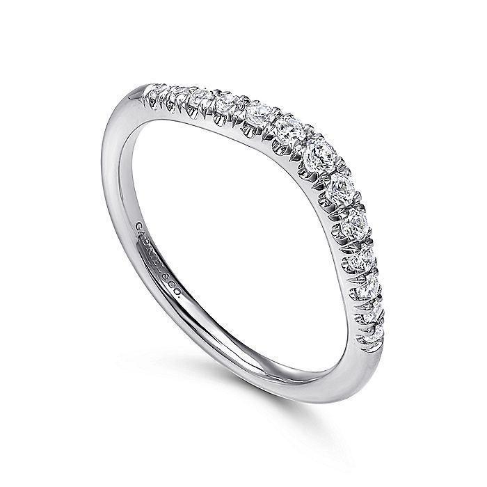 Curved 14K White Gold French Pavé Diamond Wedding Band