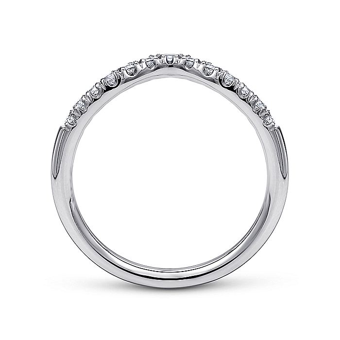 Curved 14K White Gold French Pavé Diamond Wedding Band
