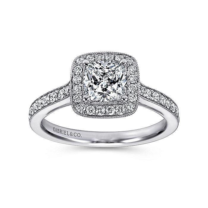 Vintage Inspired 14K White Gold Cushion Halo Diamond Engagement Ring