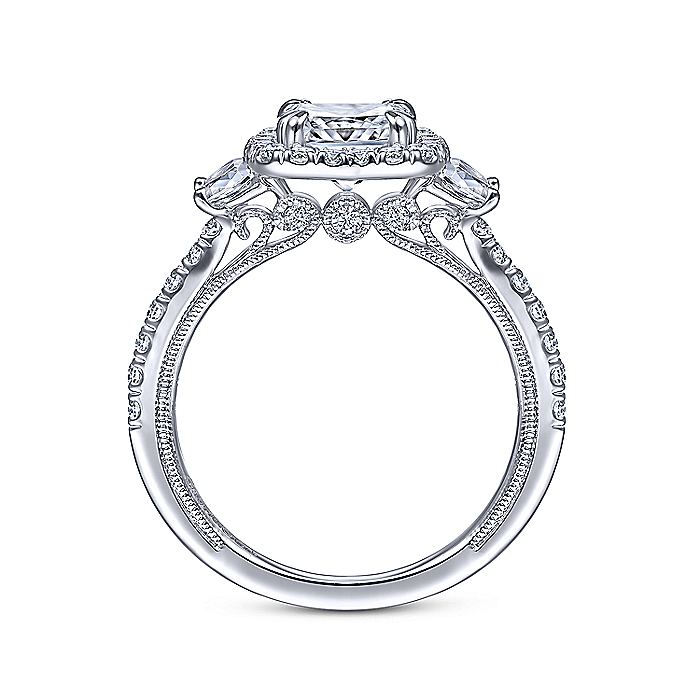 Vintage Inspired 14K White Gold Cushion Three Stone Halo Diamond Engagement Ring