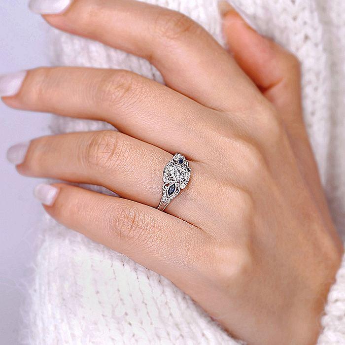 Vintage Inspired Platinum Fancy Three Stone Halo Round Sapphire and Diamond Engagement Ring