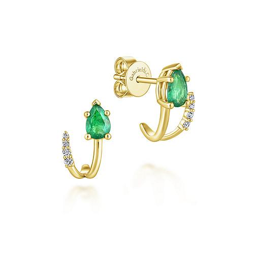 ab271731f4b Gabriel - 14k Yellow Gold Pear Cut Emerald & Diamond J Curve Stud Earrings