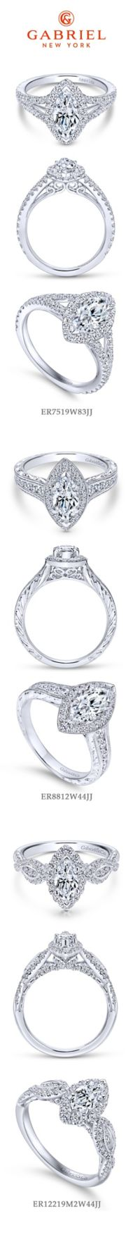 Leticia 14k White Gold Marquise  Halo Engagement Ring angle