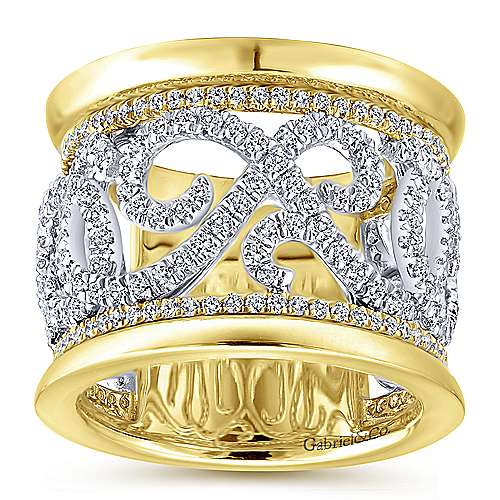 14k White and Yellow Gold French Pavé Set Fancy Anniversary Band