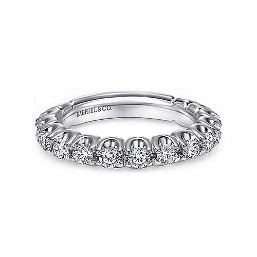 Gabriel - 14 k White Gold Prong Set Band