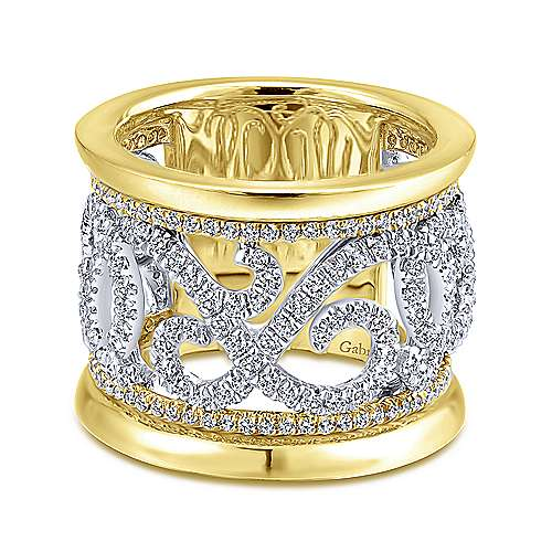 Gabriel - 14k Yellow/white Gold Contemporary Fancy Anniversary Band