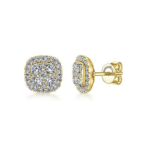 Gabriel - 14k Yellow Gold Clustered Diamonds Stud Earrings