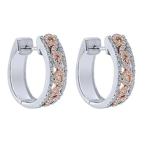 Gabriel - 14k White/pink Gold Huggies Huggie Earrings