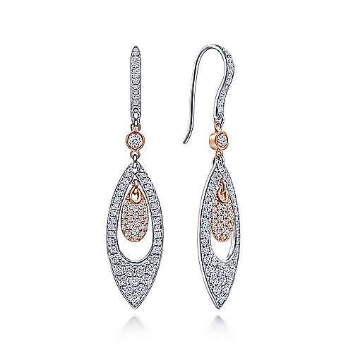 Gabriel - 14k White/pink Gold Silk Drop Earrings