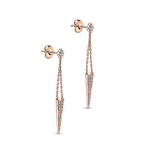 14K P.Gold Dia Earrings angle 2