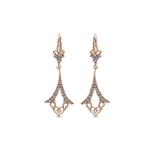 Gabriel - 14k Pink Gold Flirtation Drop Earrings