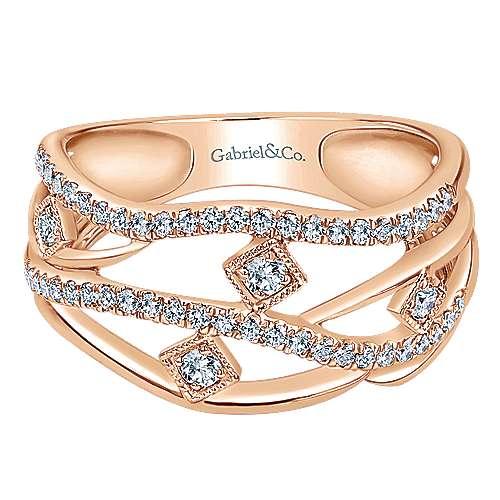 Gabriel - 14k Pink Gold Lusso Diamond Fashion Ladies' Ring