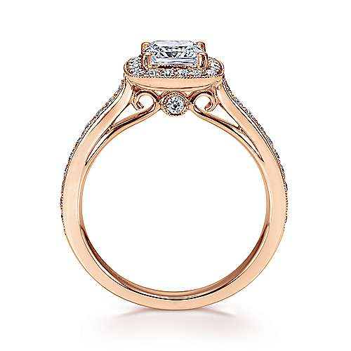 14K P.Gold Diamond Eng Ring angle 2