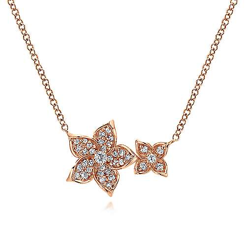 Gabriel - 14k Pink Gold Floral Fashion Necklace