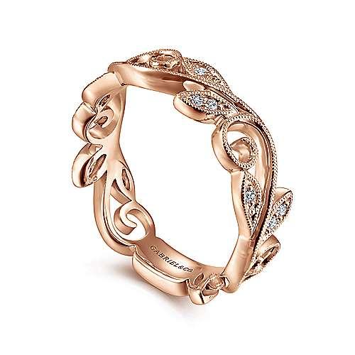 14K Pink Gold Dia. Ring angle 3