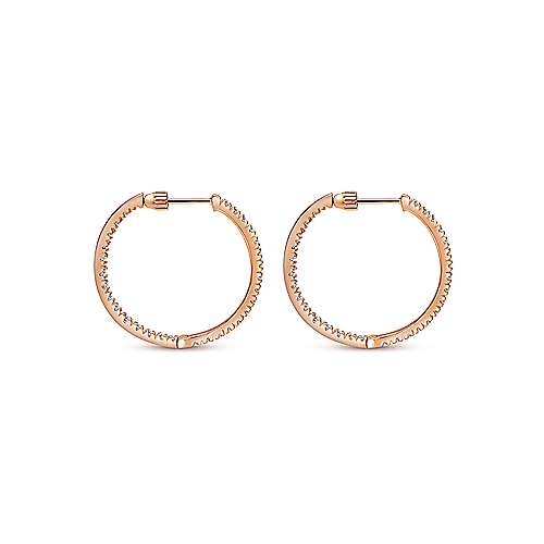14K Pink Gold Diamond Earring angle 2