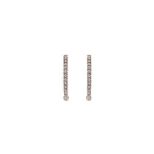 14K Pink Gold Diamond Earring angle 3