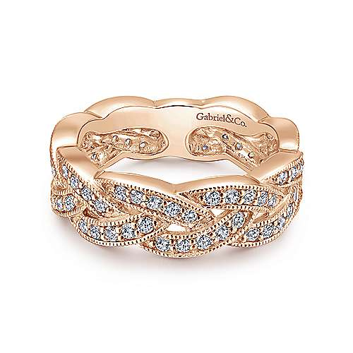 14K Pink Gold Diamond Ladies