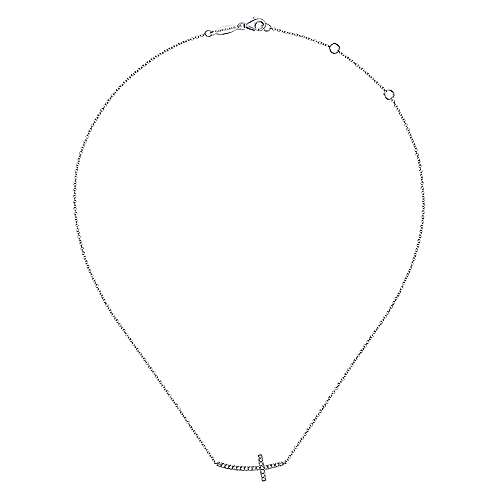 14K W. Gold Dia Necklace angle 2