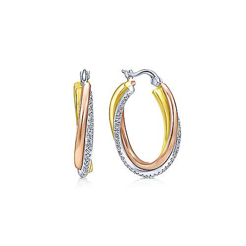 89fd410bc 14K Three Tone Gold Prong Set 20mm Round Classic Diamond Hoop Earrings