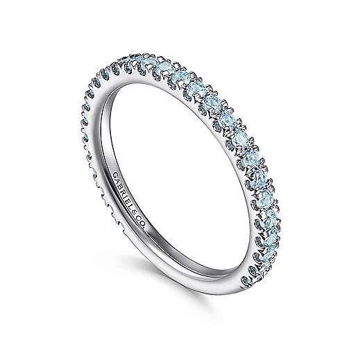 14K W.Gold BlueTop Ring angle 3