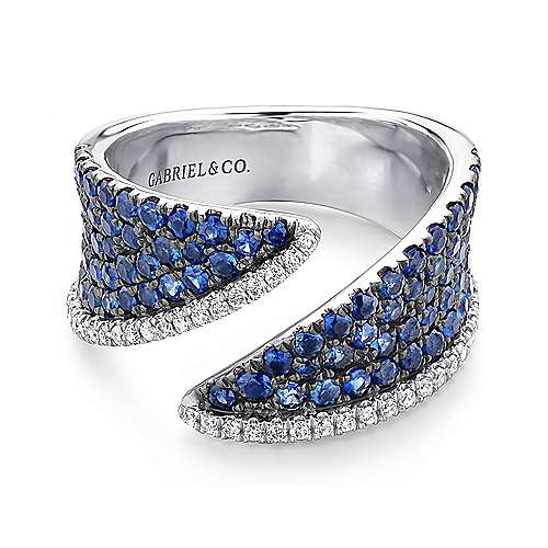 Gabriel - 14k White Gold Lusso Color Wide Band Ladies' Ring