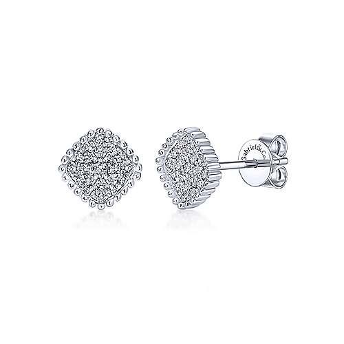 Gabriel - 14k White Gold Bombay Stud Earrings