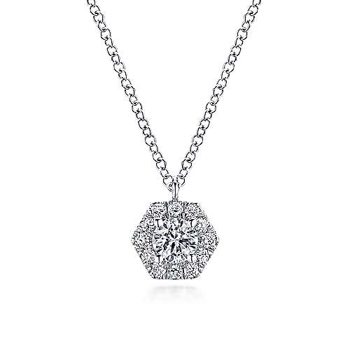Gabriel - 14k White Gold Clustered Diamonds Fashion Necklace