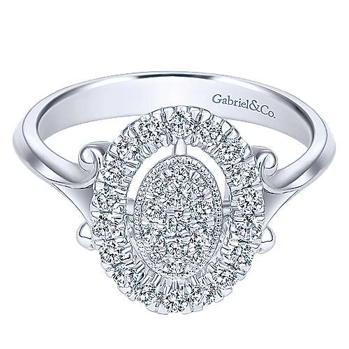 Gabriel - 14k White Gold Clustered Diamonds Fashion Ladies' Ring
