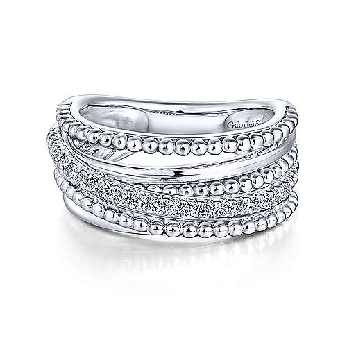 Gabriel - 14k White Gold Bombay Fashion Ladies' Ring