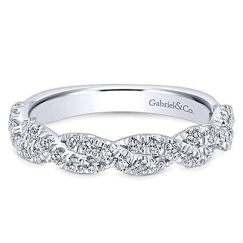 Gabriel - 14k White Gold Contemporary Twisted Wedding Band